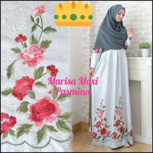 Supplier Baju Gamis Pesta Syar'i Tanah Abang Marisa Dress 2 Bahan Woolpeach