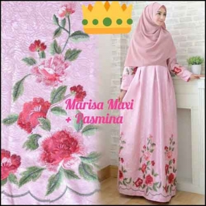 Supplier Baju Gamis Pesta Syar'i Tanah Abang Marisa Dress 3 Bahan Woolpeach