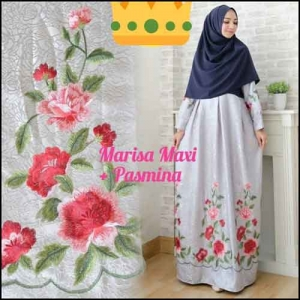 Supplier Baju Gamis Pesta Syar'i Tanah Abang Marisa Dress 4 Bahan Woolpeach