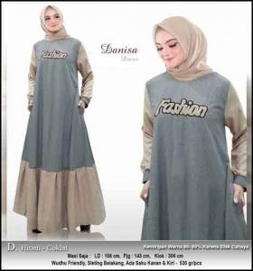 Baju Hijabers Polos Danisa Dress Warna Hitam Coklat Bahan Oxford