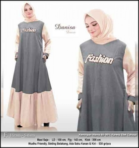Baju Hijabers Polos Danisa Dress Warna Hitam Salem Bahan Oxford