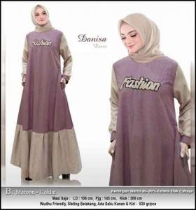 Baju Hijabers Polos Danisa Dress Warna Maron Coklat Bahan Oxford
