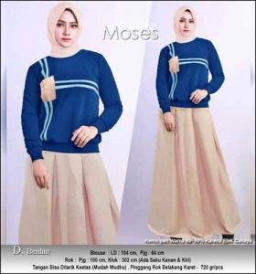 Baju Muslim Casual Moses Set warna Benhur dengan Bahan Kaos Katun Combed