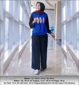 Baju Muslim Casual Zarlin Set Warna Benhur Bahan Kaos Combed