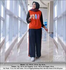 Baju Muslim Casual Zarlin Set Warna Orange Bahan Kaos Combed