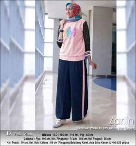 Baju Muslim Casual Zarlin Set Warna Pink Muda Bahan Kaos Combed