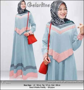 Jual Gamis Murah Syar'i Gelardine Dress Warna Biru Bahan Oxford