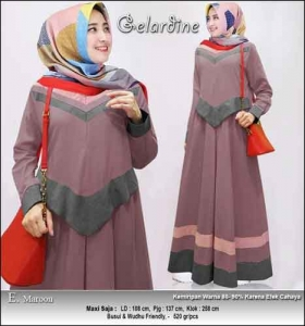 Jual Gamis Murah Syar'i Gelardine Dress Warna Maron Bahan Oxford