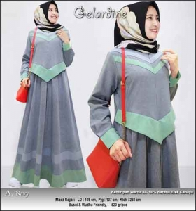 Jual Gamis Murah Syar'i Gelardine Dress Warna Navy Bahan Oxford