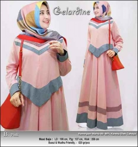 Jual Gamis Murah Syar'i Gelardine Dress Warna Pink Bahan Oxford