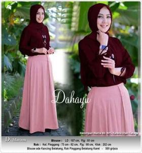 Jual Online Busana Muslim Modern Dahayu set Warna Maron Bahan Woollpeach