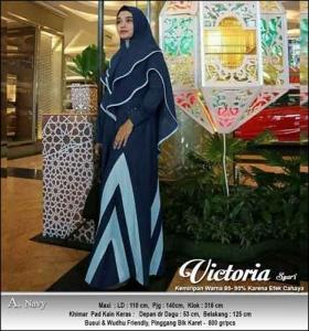 Jual Online Gamis Polos Victoria Syar'i Warna Navy Bahan Moscrepe