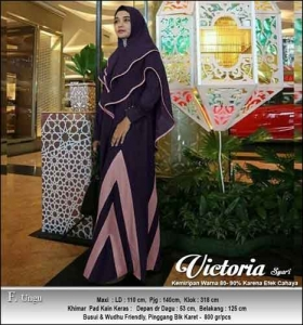 Jual Online Gamis Polos Victoria Syar'i Warna Ungu Bahan Moscrepe