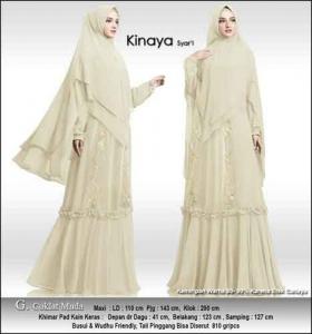 Baju Gamis Cantik Kinaya Syar'i Untuk Pesta Warna Coklat Muda Bahan Ceruti Premium