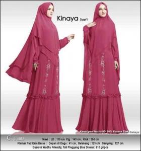 Baju Gamis Cantik Kinaya Syar'i Warna Fanta Bahan Ceruti Premium