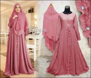 Baju Gamis Terbaru Dan Modis Elliya Syar'i Warna Pink Bahan Diamond Crepe