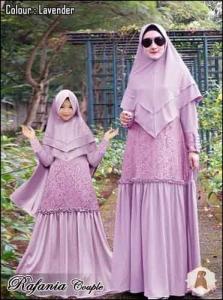 Baju Muslim Couple Anggun Rafania Syar'i Warna Lavender Bahan Moscrepe Lotus