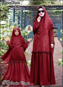 Baju Muslim Couple Anggun Rafania Syar'i Warna Maron Bahan Moscrepe Lotus