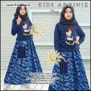 Busana Muslim Anak Cantik Arminie Set Warna Navy Bahan wafle Mix