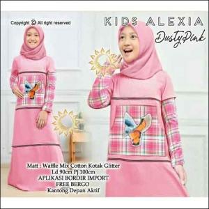 Gamis Anak Modern Alexia Kids Warna Dusty Pink Bahan Waffle Mix