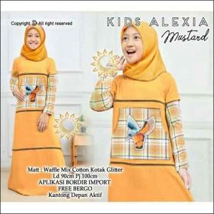 Gamis Anak Modern Alexia Kids Warna Mustard Bahan Waffle Mix