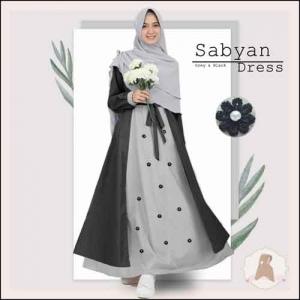 Gamis Murah Polos Sabyan Syar'i Warna Grey Bahan Moscrepe