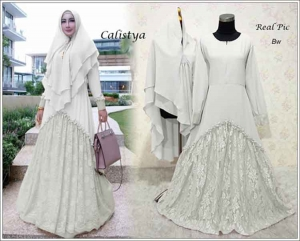 Gaun Pesta Muslimah Elegan Calistya Syar'i Warna B White Bahan Diamond Crepe