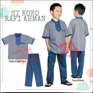 Model Baju Muslim Anak Terbaru Setelan koko Rafi Warna Grey Bahan Full Katun