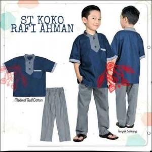 Model Baju Muslim Anak Terbaru Setelan koko Rafi Warna Navy Bahan Full Katun