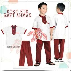 Model Baju Muslim Anak Terbaru Setelan koko Rafi-Warna White Bahan Full Katun