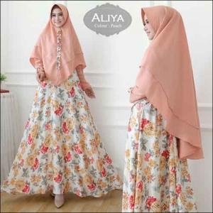 Baju Gamis Online Aliya Syar'i Motif Bunga Warna Peach Bahan Moscrepe