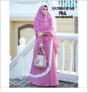 Gamis Polos Elegan Katrina Syar'i Warna Pink Bahan Ceruti
