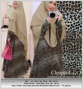 Jual Baju Gamis Cleopard Syar'i Anggun Warna Coklat Bahan Soft Skin motif Macan tutul