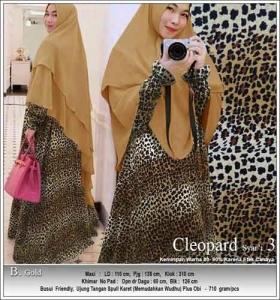 Jual Baju Gamis Cleopard Syar'i Anggun Warna Gold Bahan Soft Skin motif Macan tutul