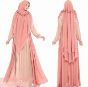 Jual Baju Gamis Shareena Syar'i Warna Beige Bahan Ceruti