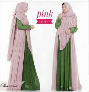 Jual Baju Gamis Syar'i Shareena Warna Pink Green Bahan Ceruti