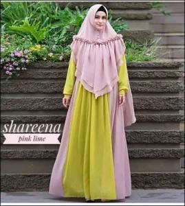 Jual Baju Gamis Syar'i Shareena Warna Pink Lime Bahan Ceruti