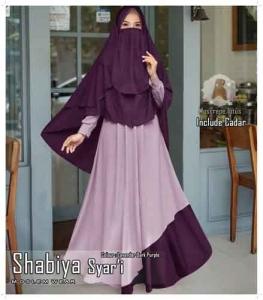 Jual Baju Wanita Muslim Shabiya Syar'i Warna Lavender Bahan Moscrepe Lotus
