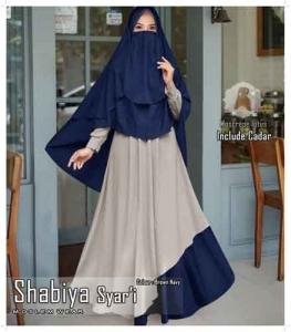 Jual Baju Wanita Muslim Shabiya Syar'i Warna Navy Bahan Moscrepe Lotus