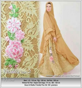 Jual Grosir Baju Pesta Muslim Khasifa Syar'i Warna Gold Bahan Ceruti Kombinasi Brokat