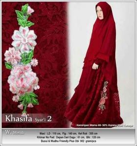 Jual Grosir Baju Pesta Muslim Khasifa Syar'i Warna Merah Bahan Ceruti Kombinasi Brokat
