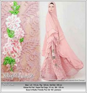 Jual Grosir Baju Pesta Muslim Khasifa Syar'i Warna Pink Bahan Ceruti Kombinasi Brokat
