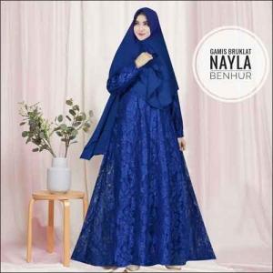 Model Baju Gamis Untuk Pesta Pernikahan Nayla Syar'i Warna Benhur Bahan Brokat
