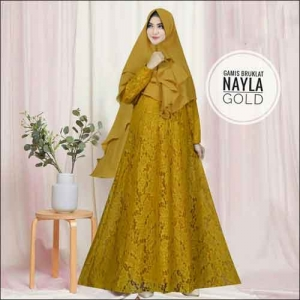 Model Baju Gamis Untuk Pesta Pernikahan Nayla Syar'i Warna Gold Bahan Brokat