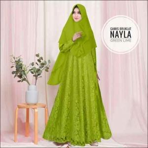 Model Baju Gamis Untuk Pesta Pernikahan Nayla Syar'i Warna Hijau Lime Bahan Brokat