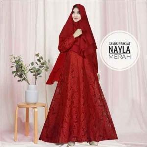 Model Baju Gamis Untuk Pesta Pernikahan Nayla Syar'i Warna Merah Bahan Brokat