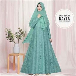 Model Baju Gamis Untuk Pesta Pernikahan Nayla Syar'i Warna Tosca Mint Bahan Brokat