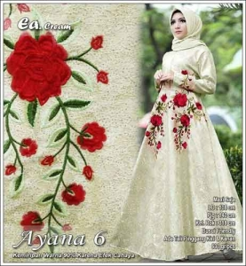 Model Gamis Pesta Terbaru Ayana Dress Warna Cream Bahan Jacquard