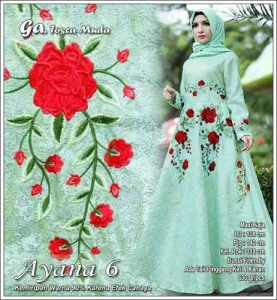 Model Gamis Pesta Terbaru Ayana Dress Warna Tosca Muda Bahan Jacquard