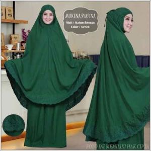 Mukena Cantik Terbaru Syafina warna Green Bahan Katun Besway